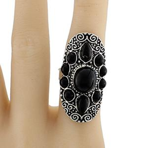 Faux Gem Water Drop Floral Ring - Black - One-size
