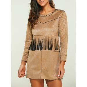 Rivet Faux Suede Long Sleeve Dress with Fringe - Light Khaki - 4xl