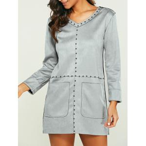 Pocket Design Faux Suede Long Sleeve Shift Dress