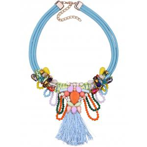 Bohemia Fake Gem Beads Tassel Necklace