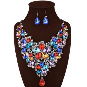 Faux Crystal Floral Statement Jewelry Set