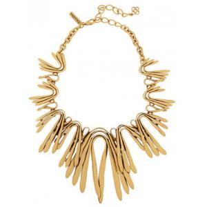 Alloy Plated Statement Choker Necklace - Golden