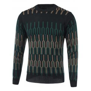 Geometric Spliced Print Round Neck Long Sleeve Sweater - Camel - M