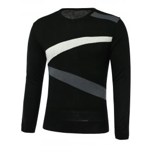 Color Block Spliced Design V-Neck Long Sleeve Sweater