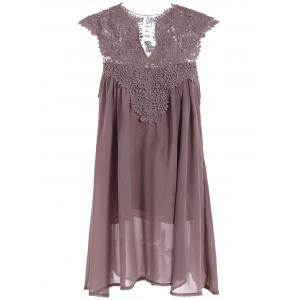 Crochet Lace Insert Ruched Dress - Light Coffee - S