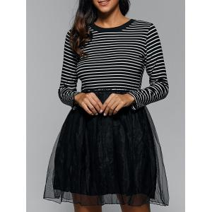 Round Neck Striped Voile Insert Dress - Black - L