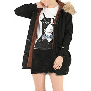 Hooded Fur Embellished Pocket Design Coat - Black - S