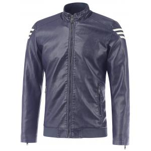 Stripe Design Stand Collar PU Leather Jacket