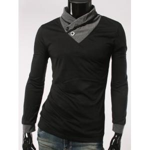Shawl Collar Button Embellished Long Sleeve T-Shirt - Black - M