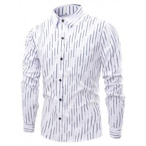 Vertical Linellae Pattern Turn-Down Collar Long Sleeve Shirt