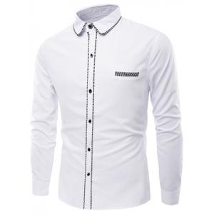 Stripe Edging Turn-Down Collar Long Sleeve Shirt