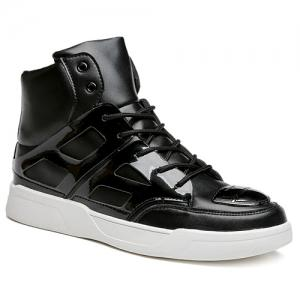 Patent Leather Spliced Lace-Up Boots