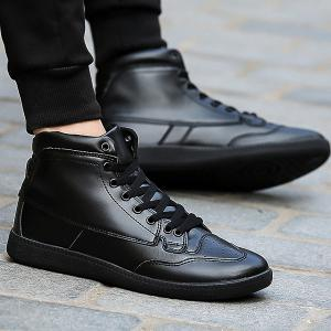High Top PU Leather Athletic Shoes - Black - 40