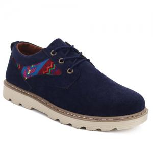 Ethnic Style Suede Lace-Up Casual Shoes - Blue - 42