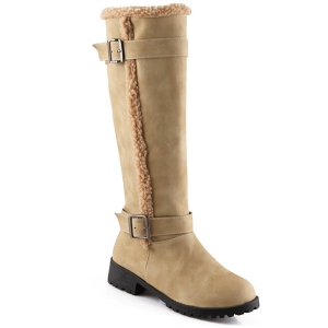 Buckles Low Heel Faux Shearling Mid-Calf Boots