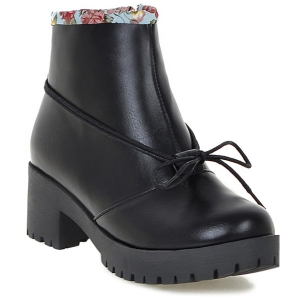 Floral Print Spliced Chunky Heel Ankle Boots