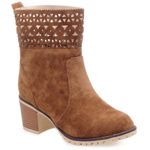 Cut Out Suede Chunky Heel Boots - Brown - 41