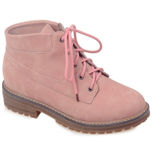 Preppy PU Leather Lace-Up Ankle Boots - Pink - 42