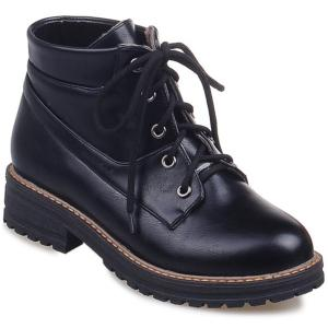 Preppy PU Leather Lace-Up Ankle Boots - Black - 38