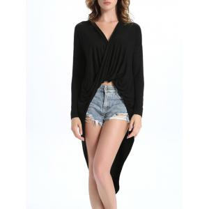 Faux Wrap V Neck Long Asymmetric Blouse