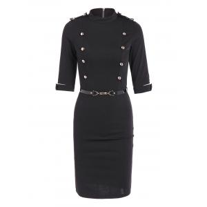 Buttoned Belted Bodycon Sheath Dress