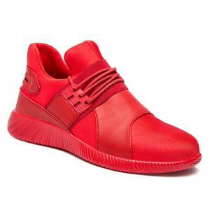 Elastic PU Leather Athletic Shoes - Red - 42