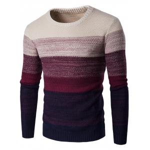 Crew Neck Gradient Color Space Dyed Sweater - Wine Red - M