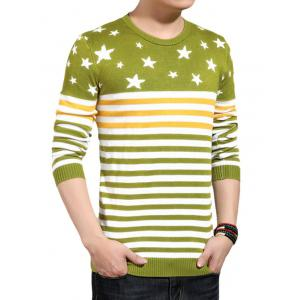 Pentagram Stripe Color Block Splicing Knitting Sweater