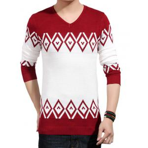 V-Neck Geometric Color Block Splicing Knitting Sweater