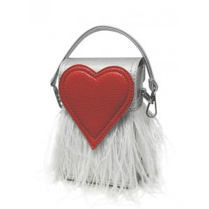 Heart Pattern Fringe Color Block Handbag - Silver - One Size