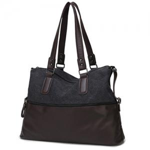 Color Block Canvas Spliced PU Leather Tote - Black