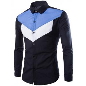 Color Splicing Turn-Down Collar Long Sleeves Shirt