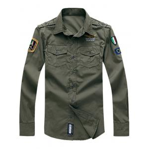 Embroidery Flap Pocket Turn-Down Collar Long Sleeves Shirt - Army Green - 3xl