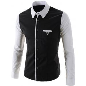 One Pocket Design Long Sleeves Slimming Shirt