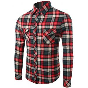 Checks Pattern Single-Breasted Long Sleeve Shirt - Colormix - L