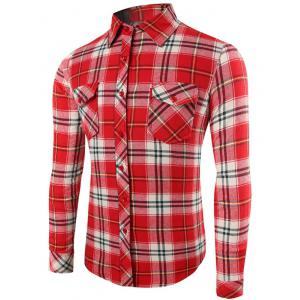 Plaid Pattern Long Sleeve Button Up Shirt - Watermelon Red - Xl