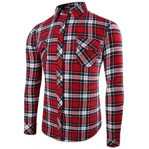 Front Pocket Design Plaid Long Sleeve Fitted Denim Shirt - Red - L