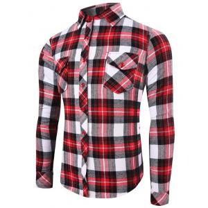 Flap Pocket Long Sleeve Plaid Flannel Shirt