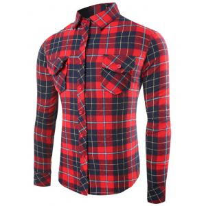 Single-Breasted Long Sleeve Flap Pocket Plaid Shirt