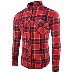 Turn-Down Collar Long Sleeve Flap Pocket Checked Shirt