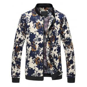3D Floral Printed Zip Up Stand Collar Plus Size Jacket