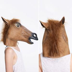 Halloween Supply Party Cospaly Fur Mane Horse Head Mask - Brown