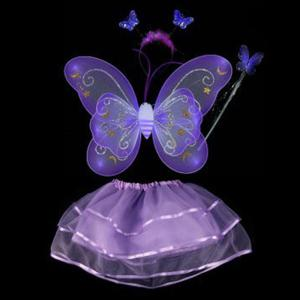 Halloween Supplies Butterfly Angel Dress Up 4PCS Kids Costume Set - Purple - 150
