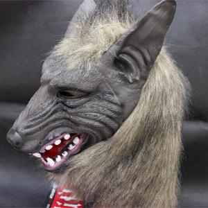 Halloween Cosplay Supply Scary Wolf Head Mask Prop - Gray