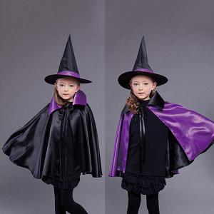 Halloween Kids Cosplay Witch Cloak Hat Costume Set - Black And Purple
