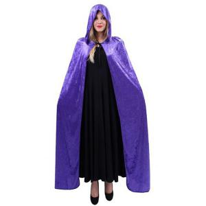Halloween Supply Cosplay Party Witch Hooded Cloak Costume - Purple - S