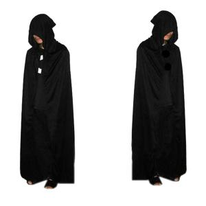 Halloween Supplies Cosplay Party Hooded Death Cloak Costume - Black