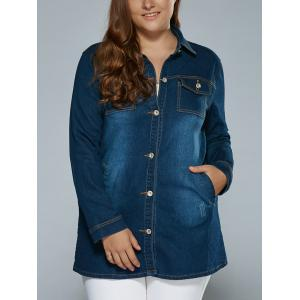 Stretchy Pockets Denim Trench Coat - Deep Blue - 3xl