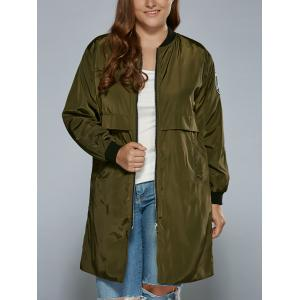 Plus Size Zip Up Patched Ruffled Trench Coat - Army Green - 2xl