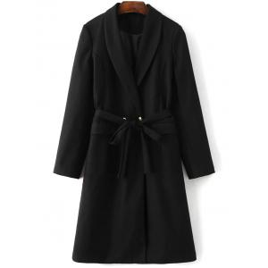 Belted Wool Blend Long Shawl Coat - Black - S